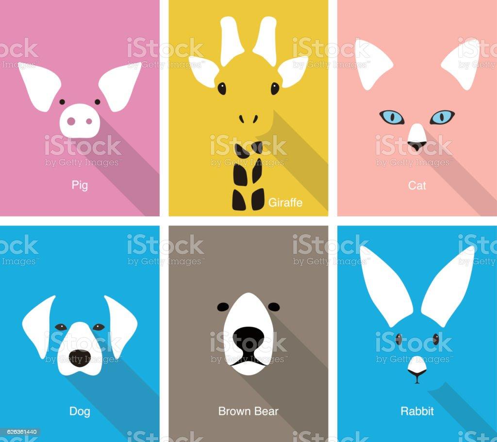 animal cartoon face, flat face icon vector vector art illustration