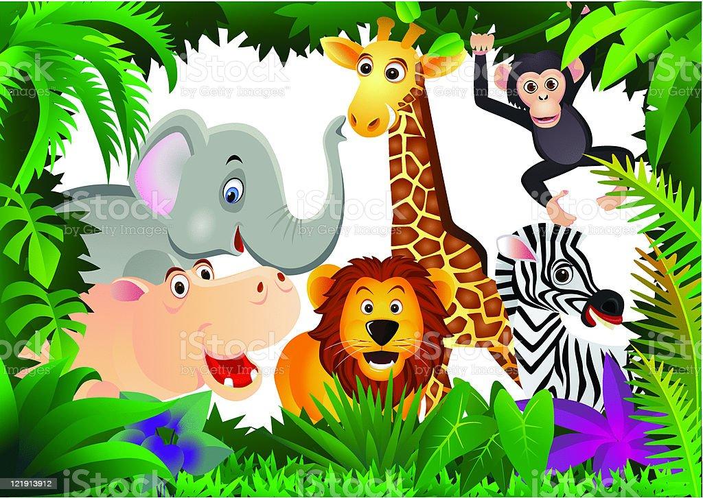 animal cartoon group royalty-free stock vector art