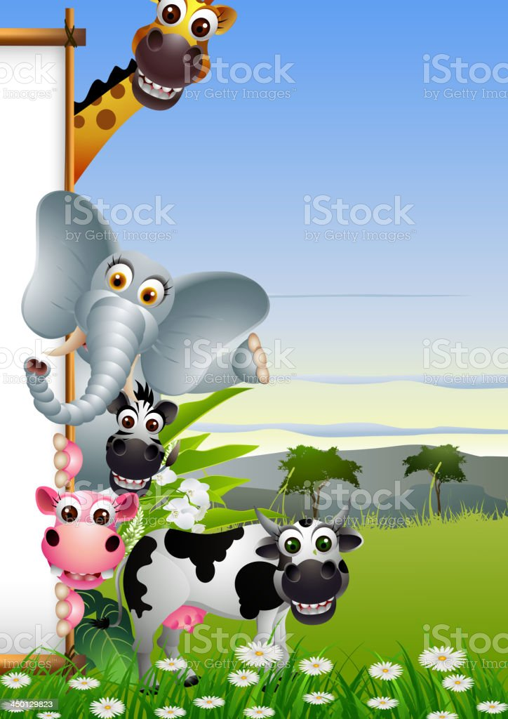 animal cartoon with blank sign and forest background vector art illustration
