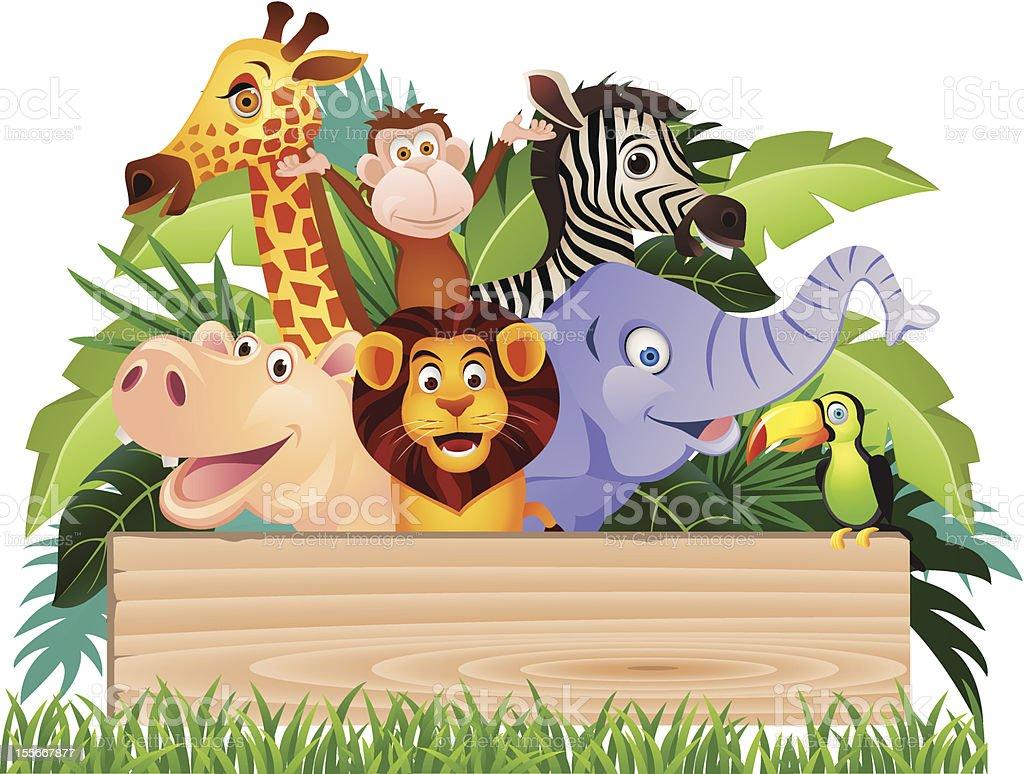 Animal cartoon with blank sign board royalty-free stock vector art