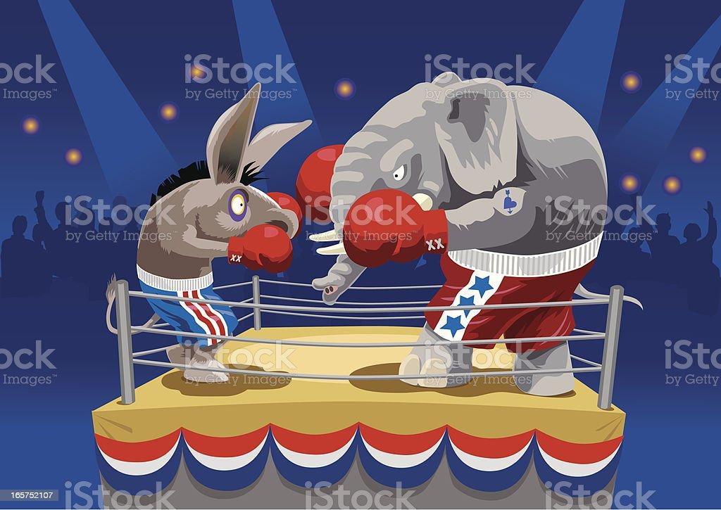 Animal cartoons boxing on the ring vector art illustration