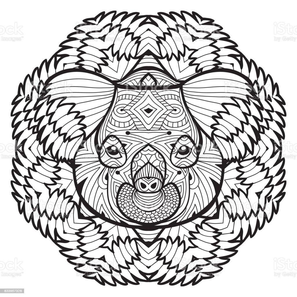 Animal concept. Line design. The head of a Koala. vector art illustration