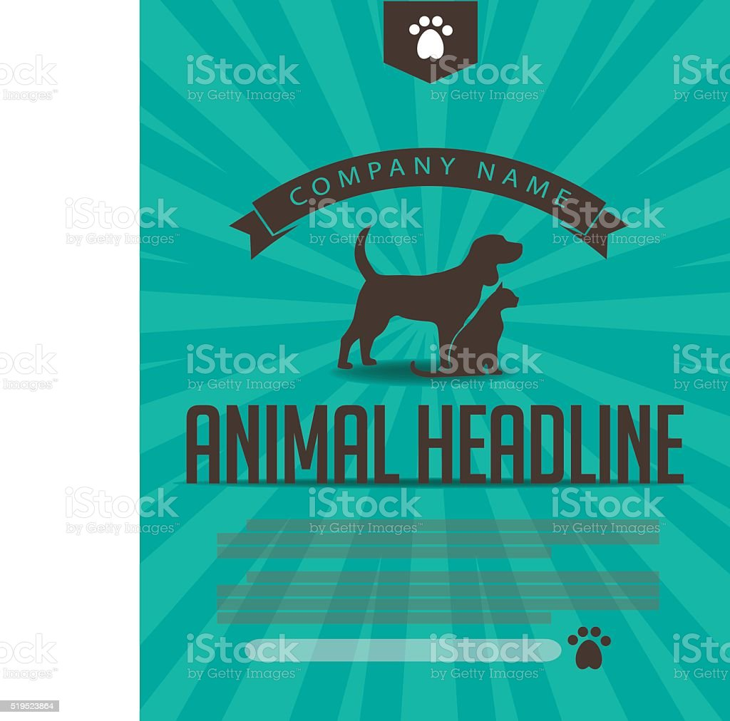 Animal dog and cat poster, infographic, advertising vector art illustration
