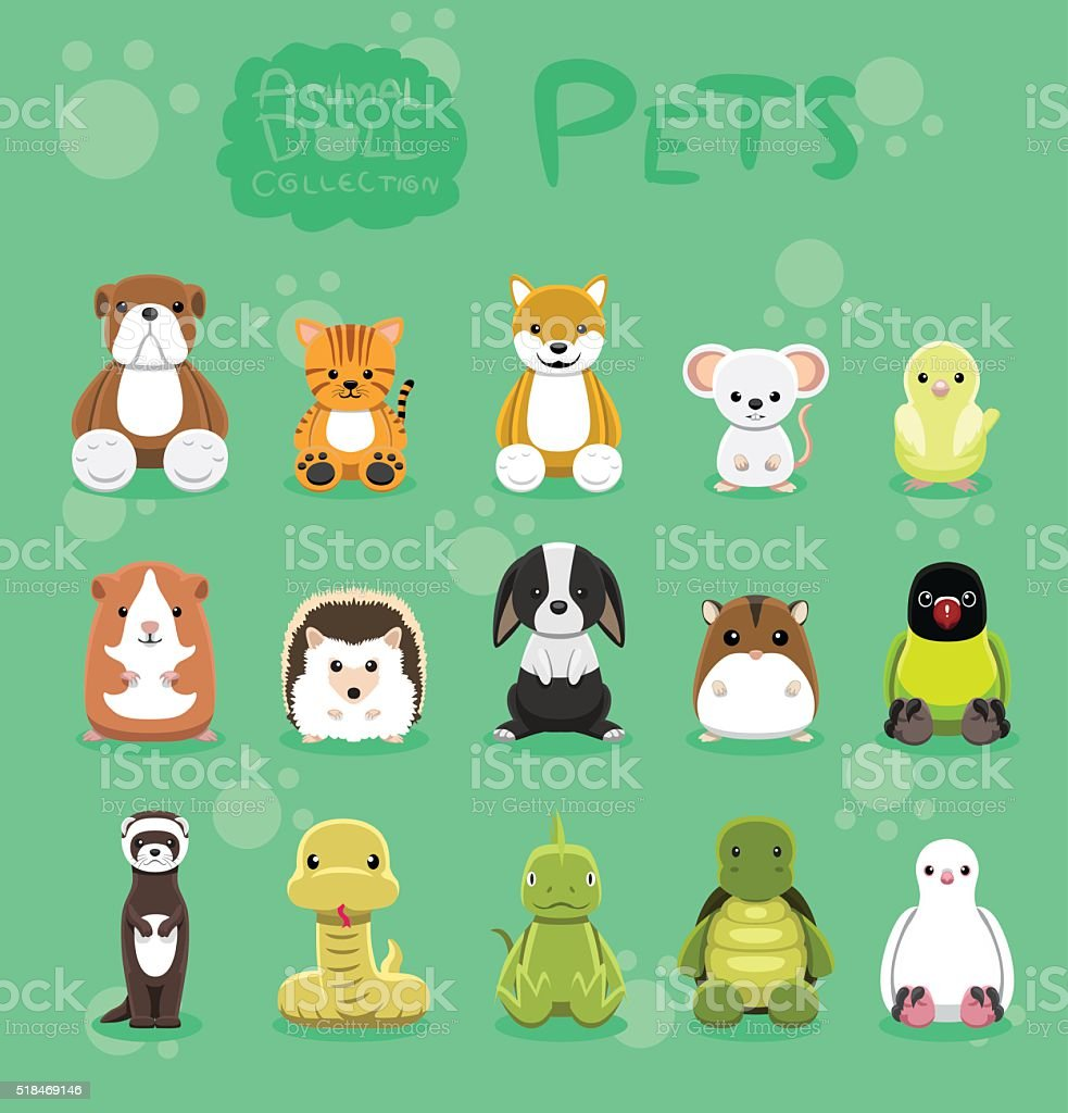 Animal Dolls Pet Set Cartoon Vector Illustration vector art illustration