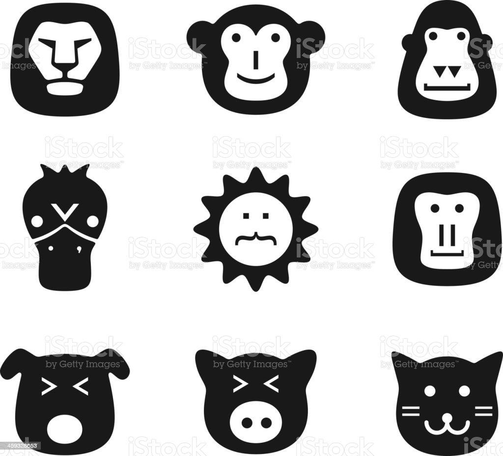 animal face black flat icon set, UI vector art illustration