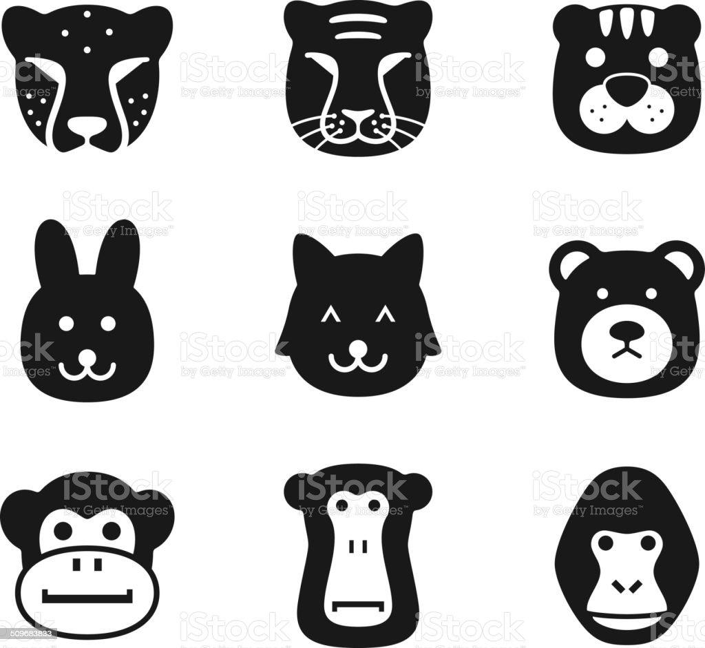 animal face icon set series vector art illustration