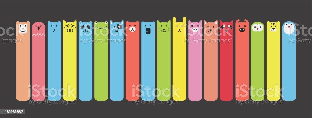 Animal face label icon design set vector art illustration