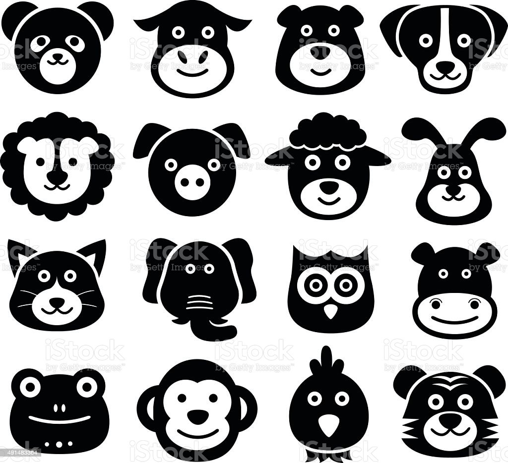Animal Faces, Animal Icons, Silhouettes, Zoo, Nature vector art illustration