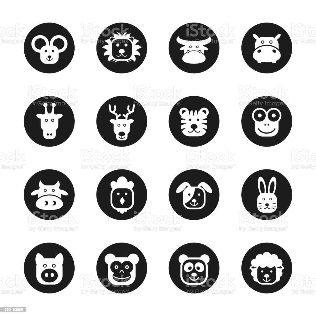 Animal Faces Icons - Black Circle Series vector art illustration