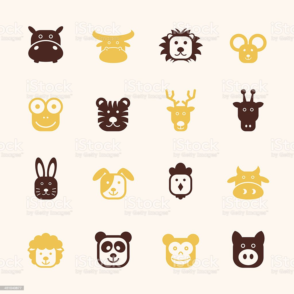 Animal Faces Icons - Color Series   EPS10 vector art illustration