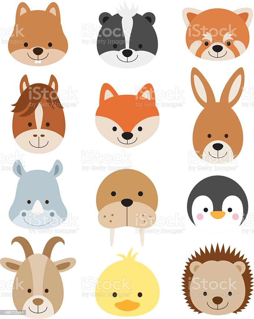 Animal Faces Set vector art illustration