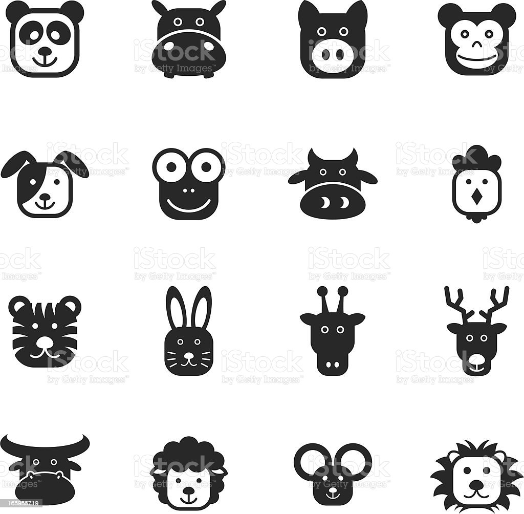 Animal Faces Silhouette Icons vector art illustration