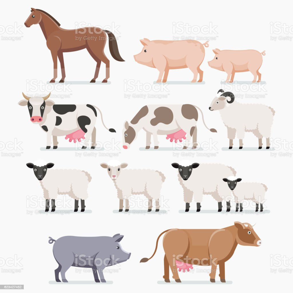 Animal farm set. The horse pig cow goat and sheep. vector art illustration