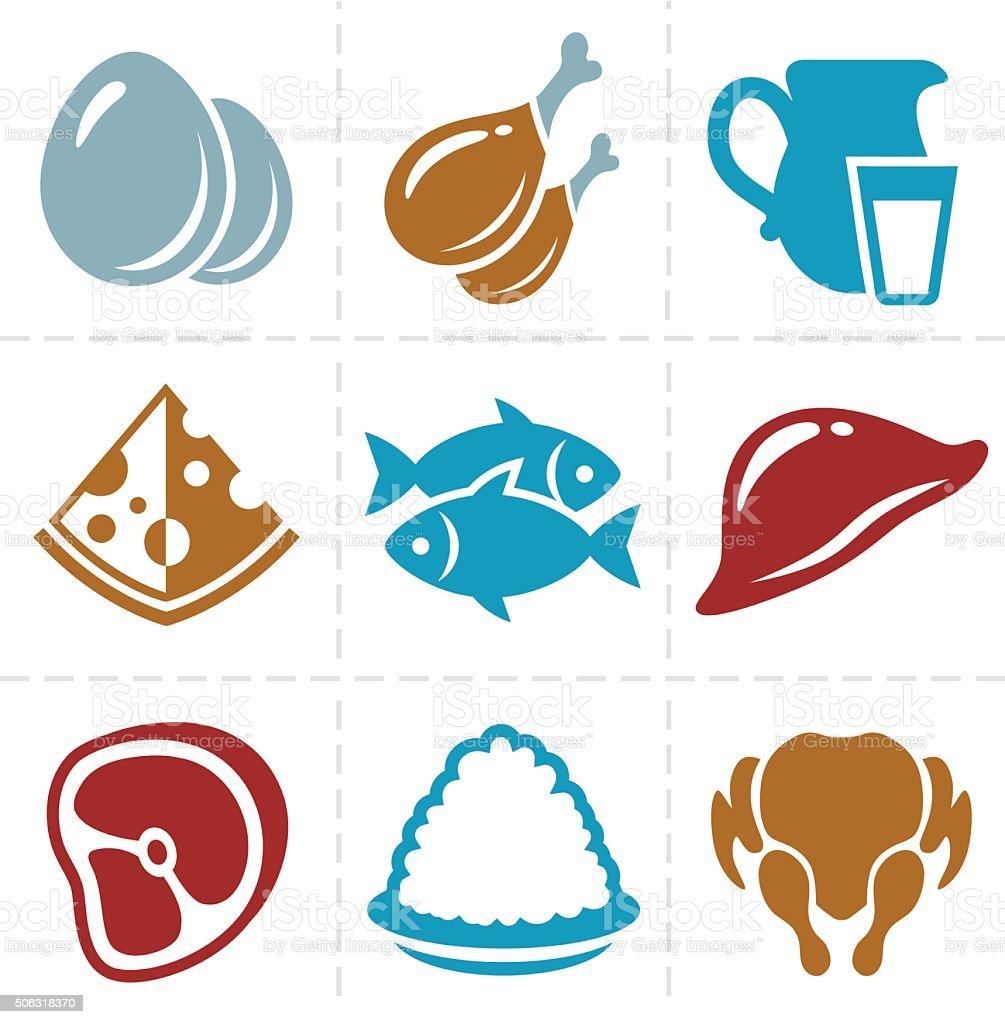 animal foods icon set vector art illustration