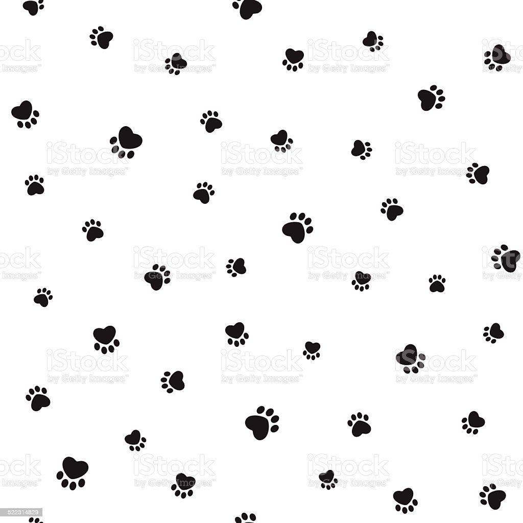 Animal footprints seamless background vector art illustration