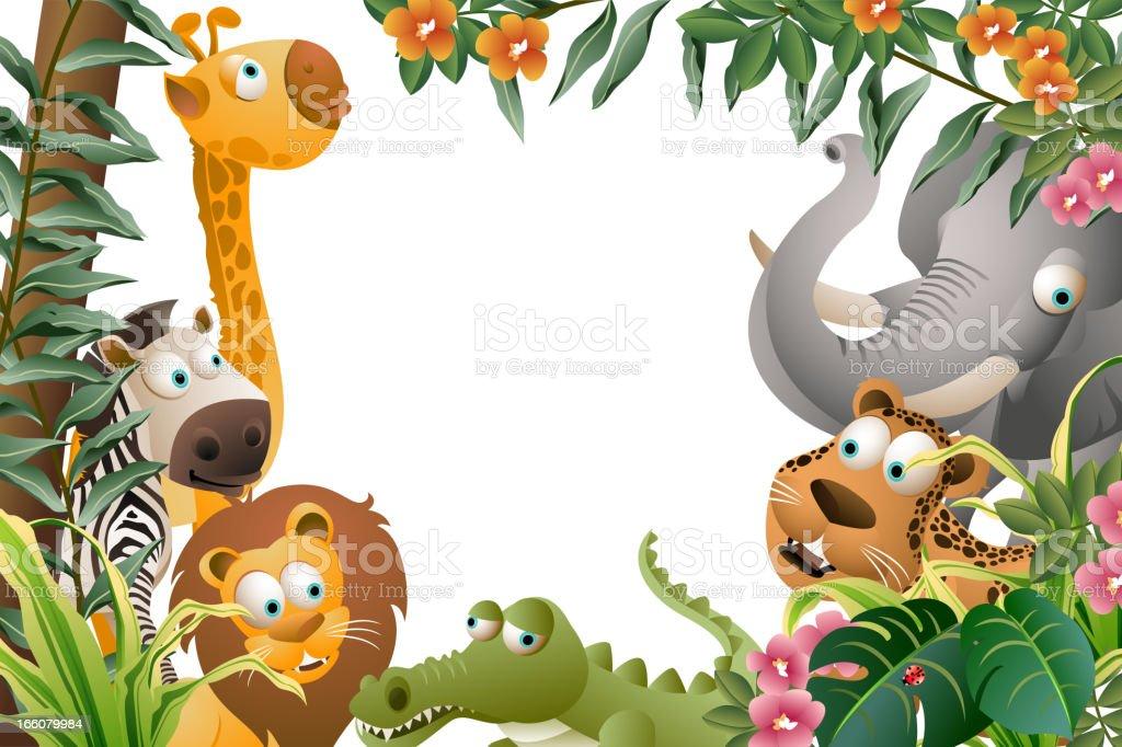 Animal Framed Around Border royalty-free stock vector art