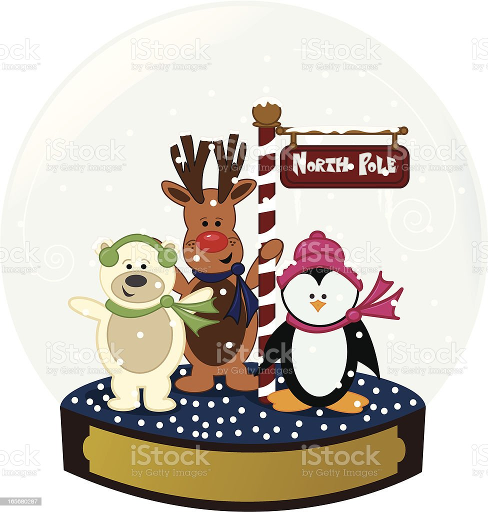 Animal Friends at the North Pole in a Snow Globe vector art illustration