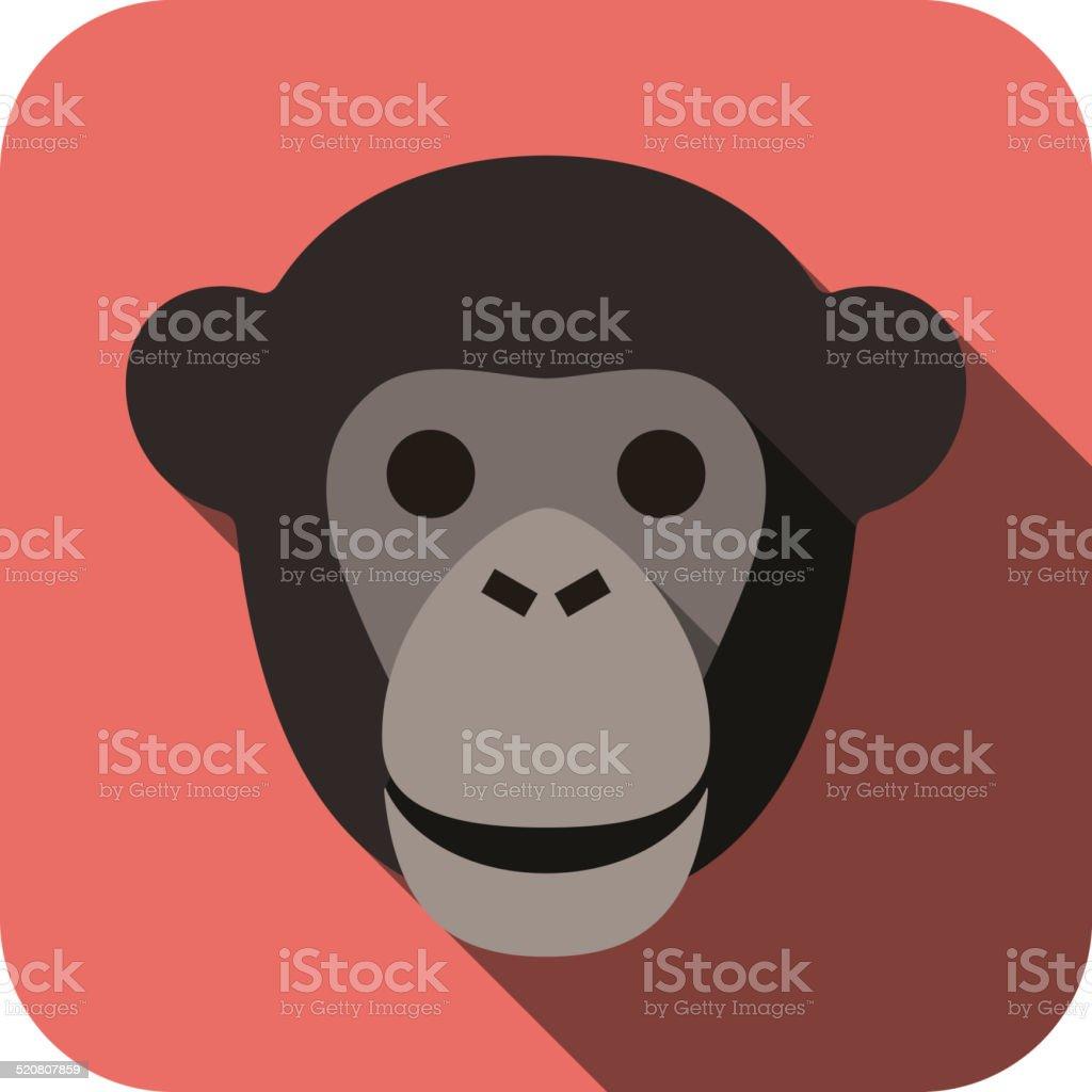 animal gorilla face flat icon vector art illustration