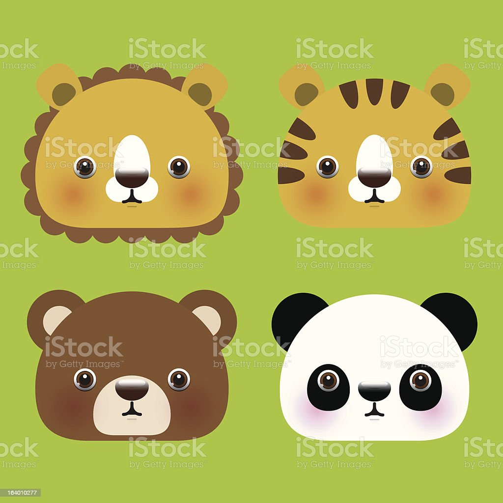 Animal head icons royalty-free stock vector art