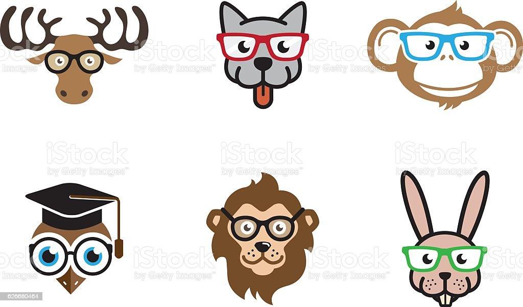 Animal Heads Geek Symbol Design vector art illustration
