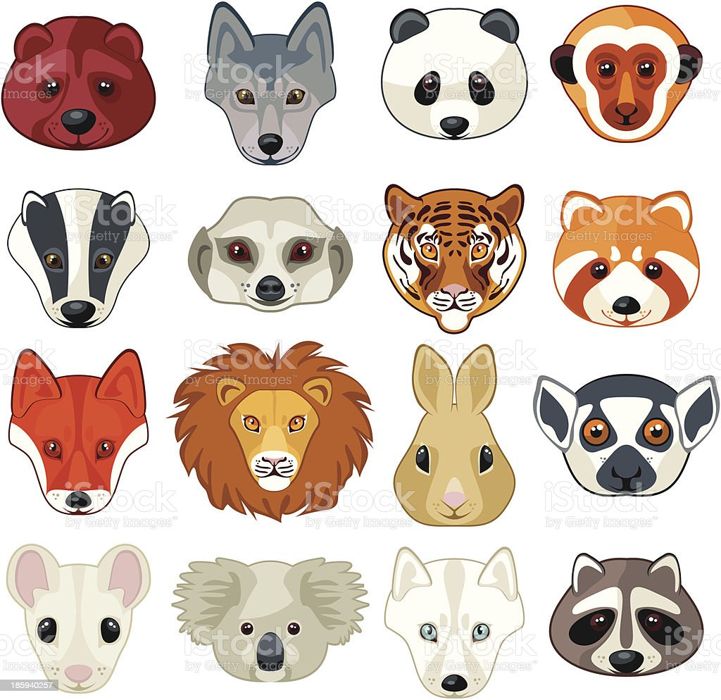 Animal Heads Set royalty-free stock vector art