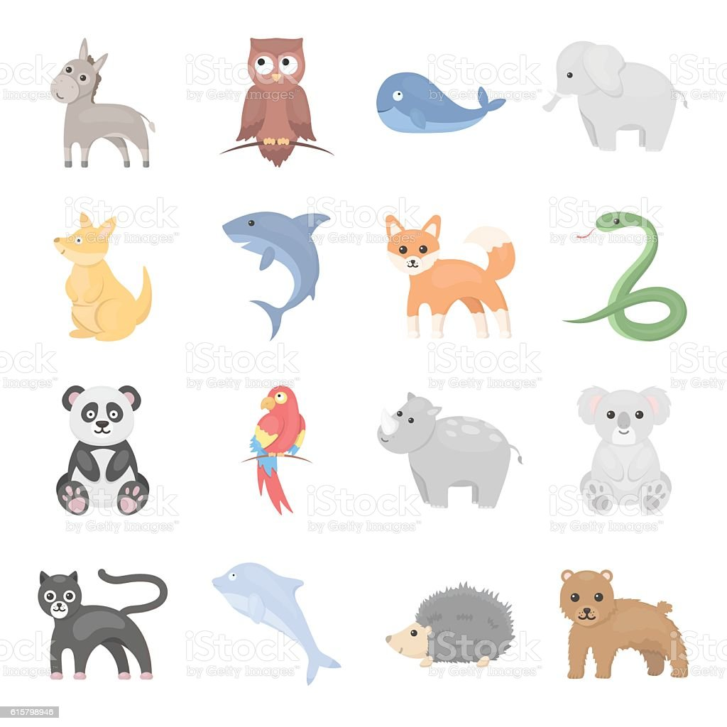 Animal icons set. Big collection of different wild animal. Predator vector art illustration