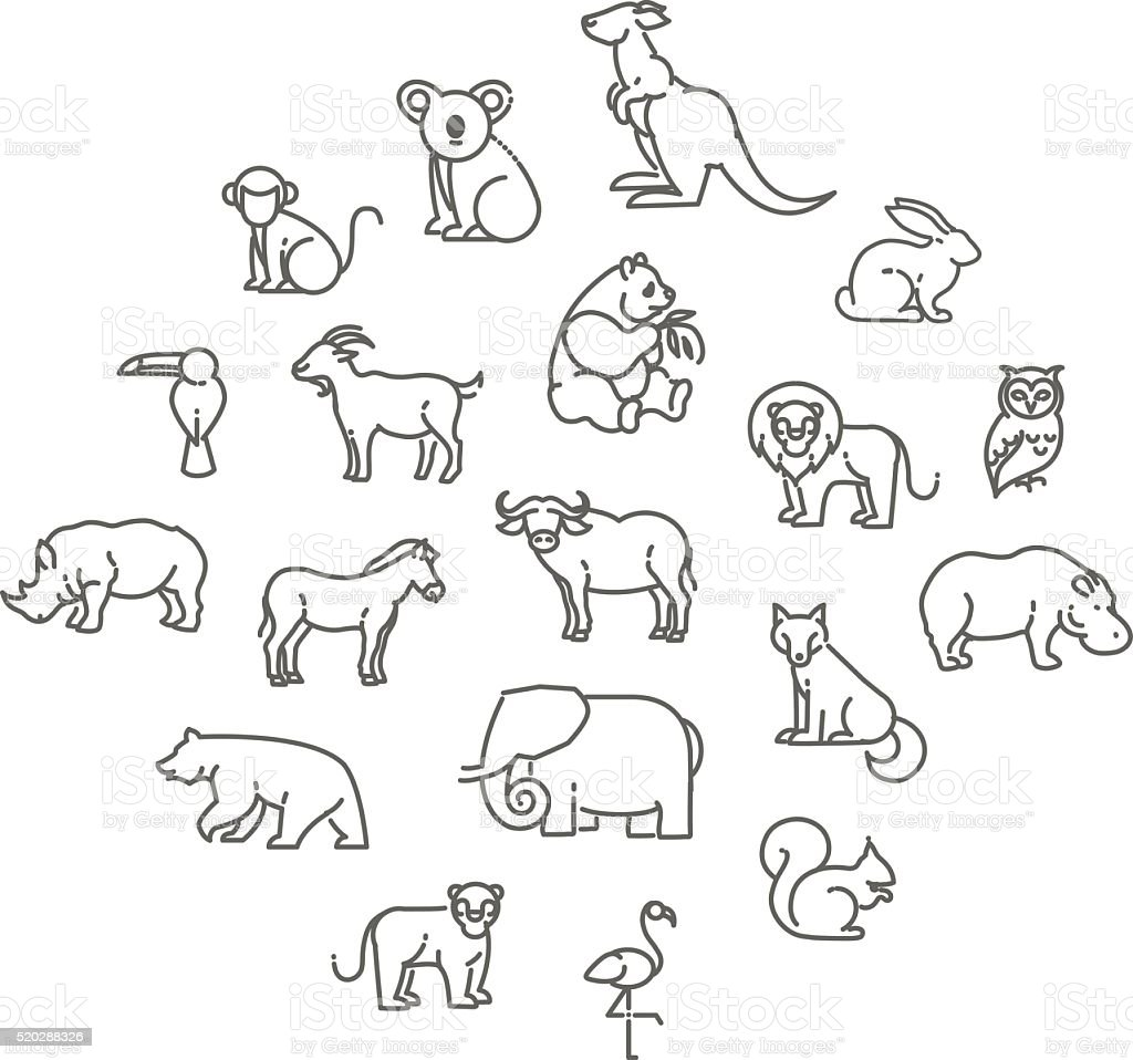 animal icons vector art illustration