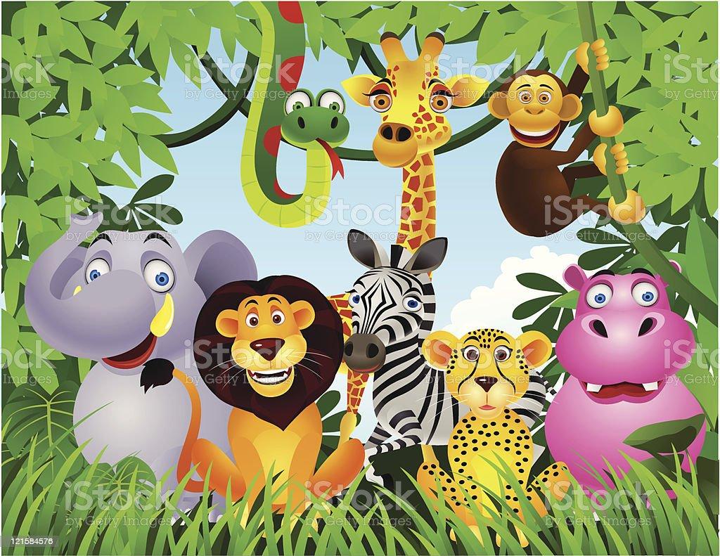 Animal in the jungle vector art illustration