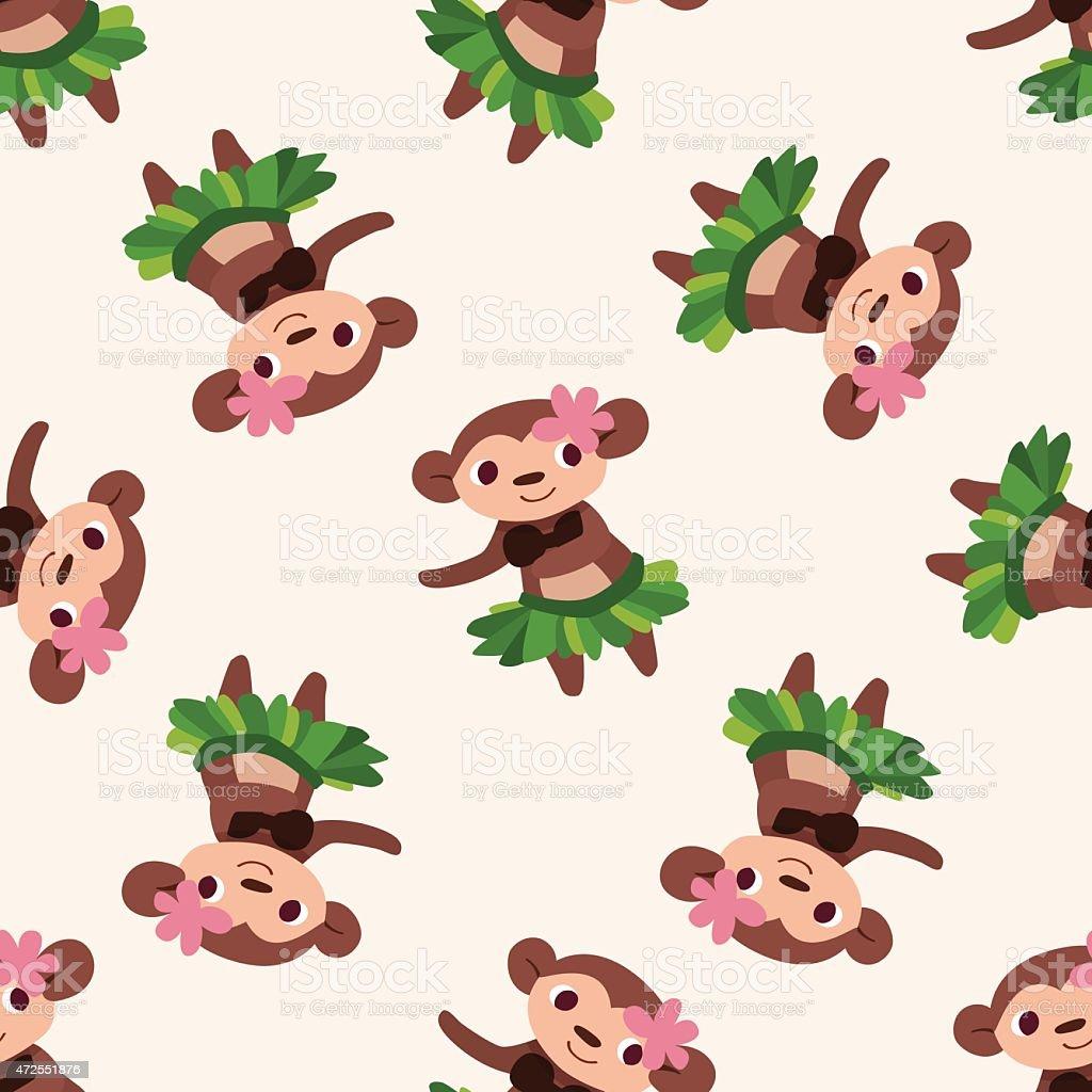 animal monkey cartoon , cartoon seamless pattern background vector art illustration