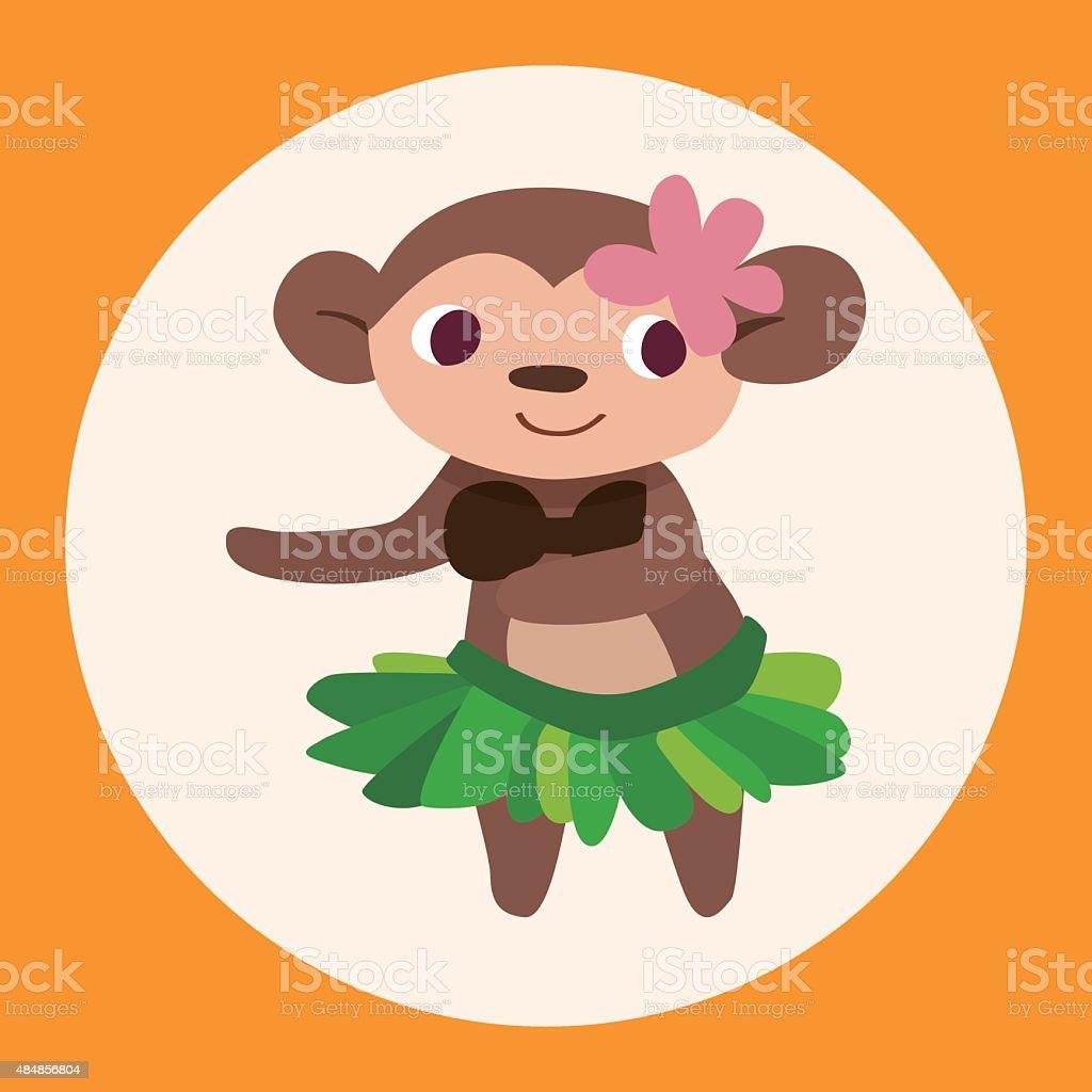 animal monkey cartoon theme elements vector art illustration