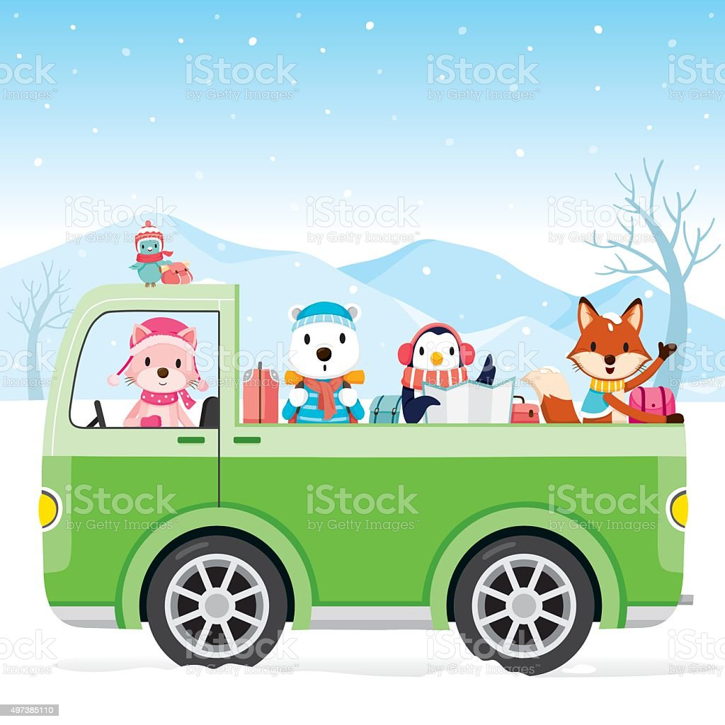 Animal On Pick Up Driving To Travel vector art illustration