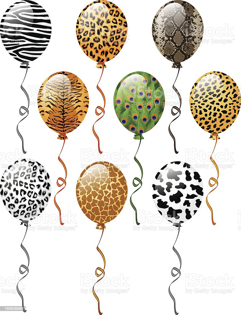 Animal patterns balloons royalty-free stock vector art