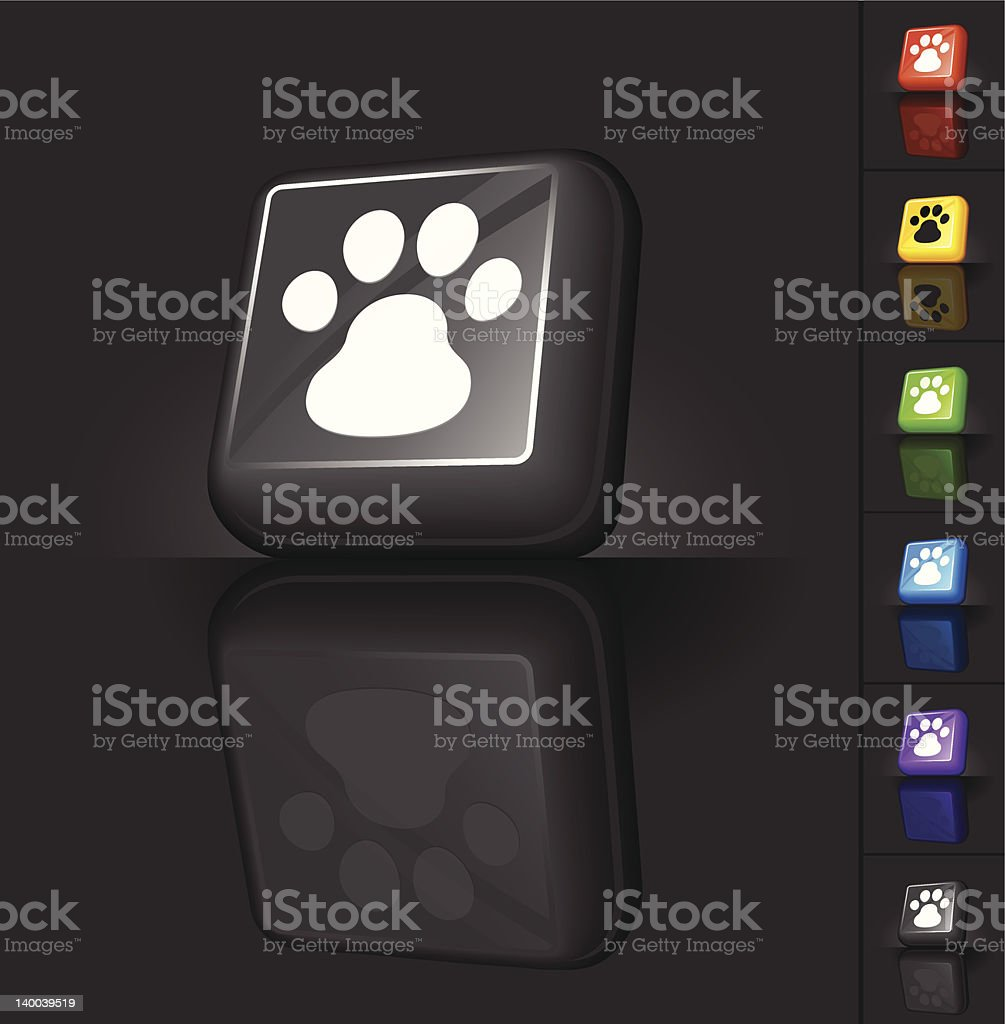 animal paw print 3D button design royalty-free stock vector art