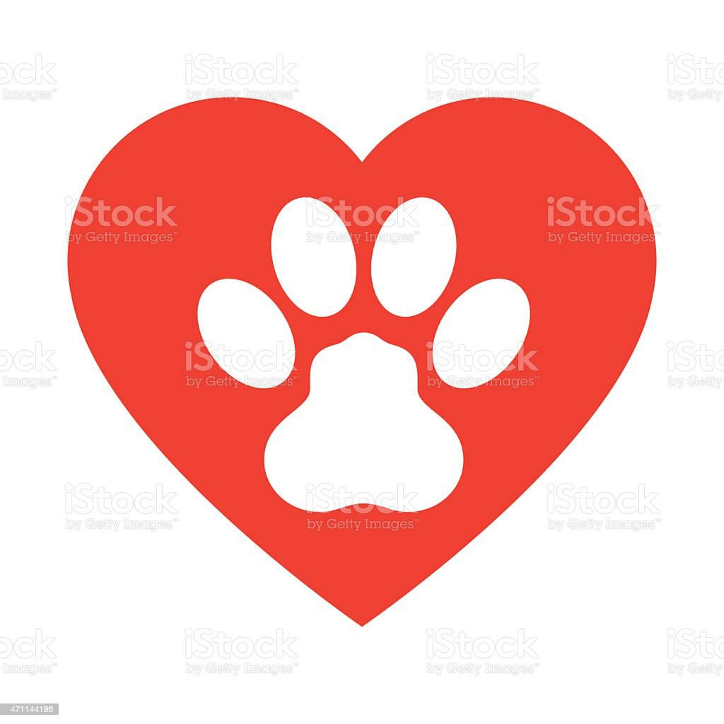 Animal Paw Print with love heart - VECTOR vector art illustration