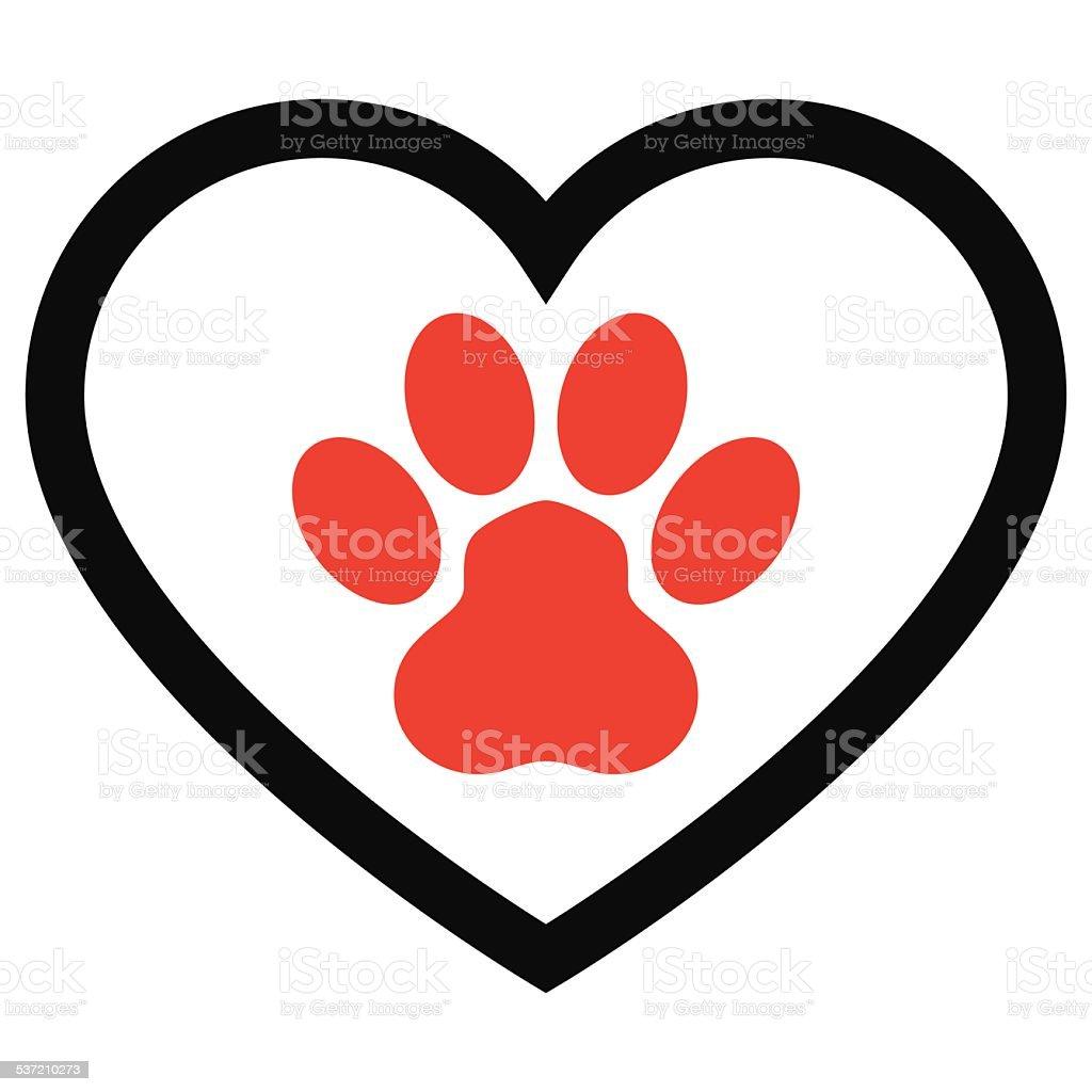 Animal Paw Print with love heart - VECTOR vector art illustration