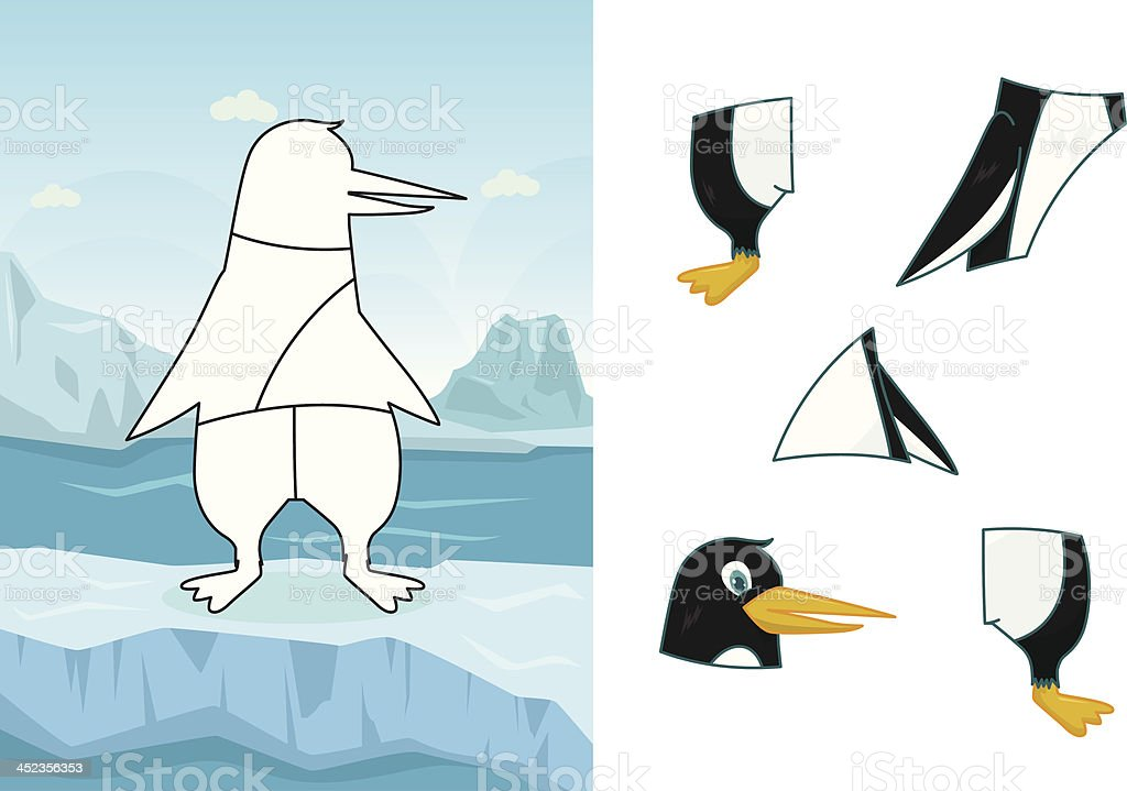 Animal penguin puzzle royalty-free stock vector art