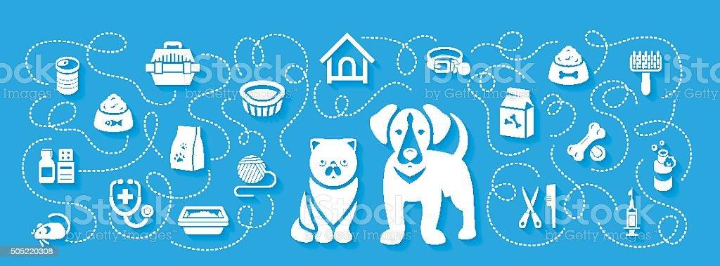 Animal Pets Grooming and Healthcare Flat Horizontal Header Banner vector art illustration