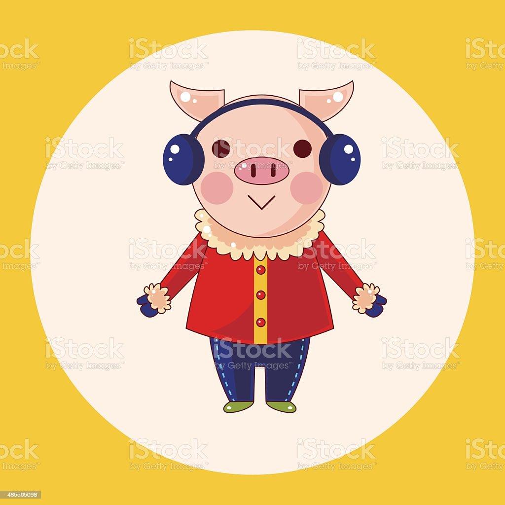 動物アニメをテーマにした豚の冬の要素 のイラスト素材 485565098   istock