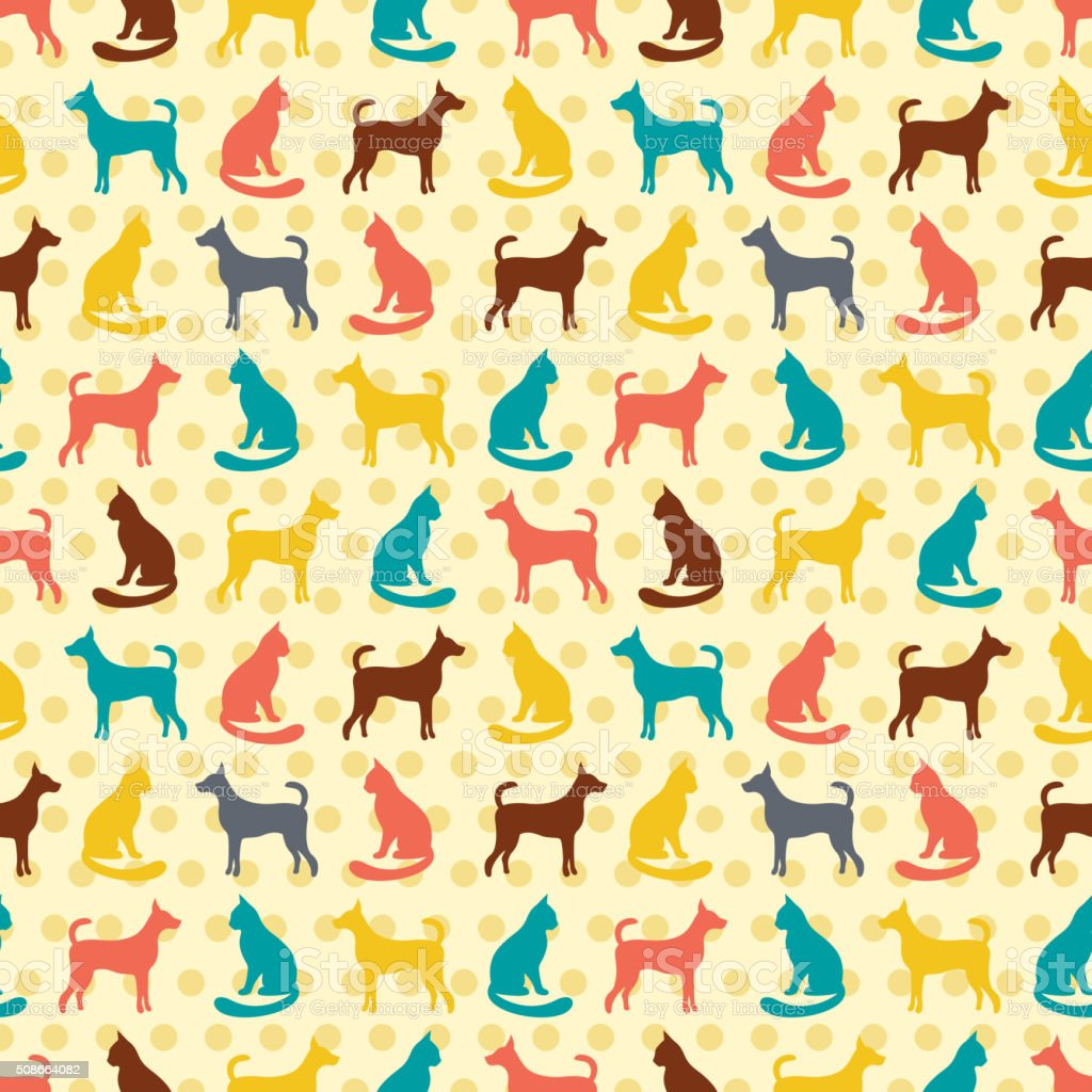 Animal seamless vector pattern of cat and dog silhouettes vector art illustration