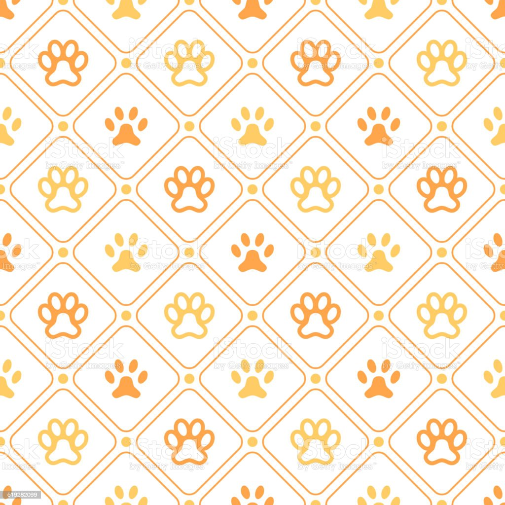 Animal seamless vector pattern of paw footprint, line and dot vector art illustration