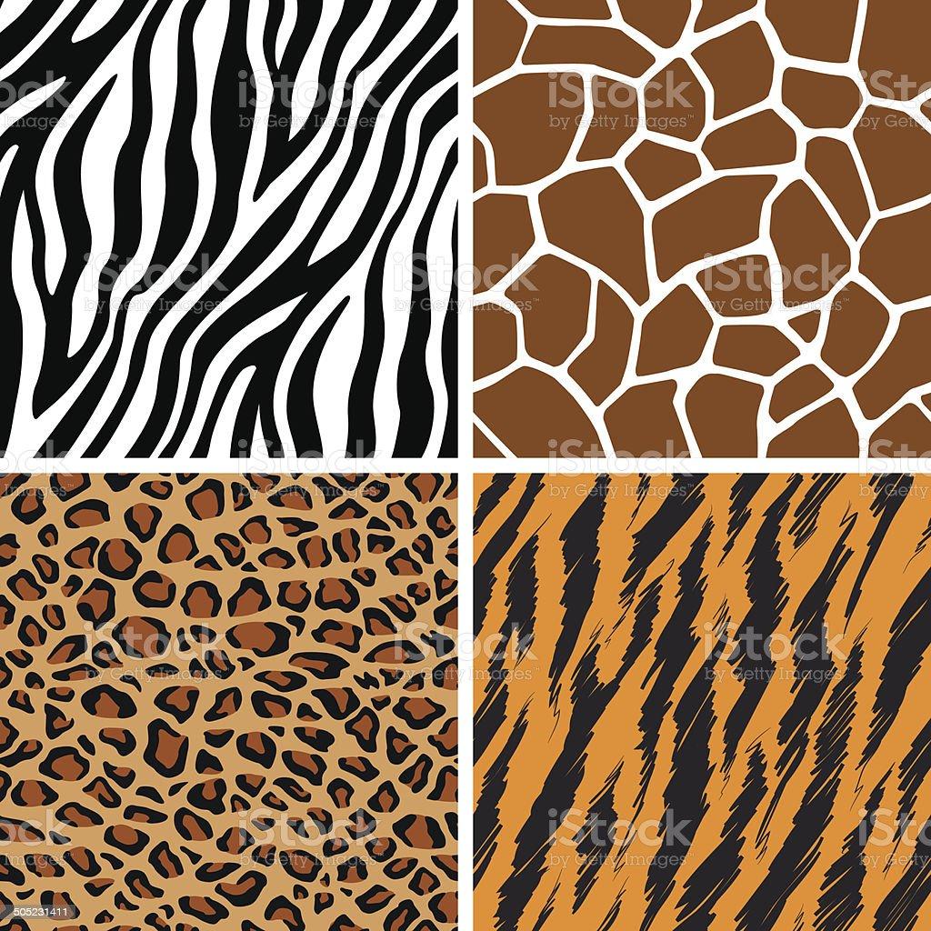 Animal Set - Giraffe, Leopard, Tiger, Zebra Seamless Pattern vector art illustration