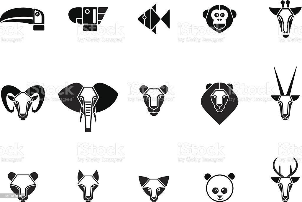 Animal set of icons vector art illustration