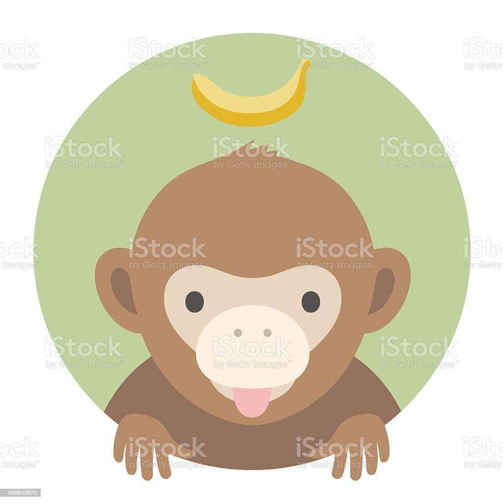 Animal set. Portrait in flat graphics - Monkey with banana vector art illustration