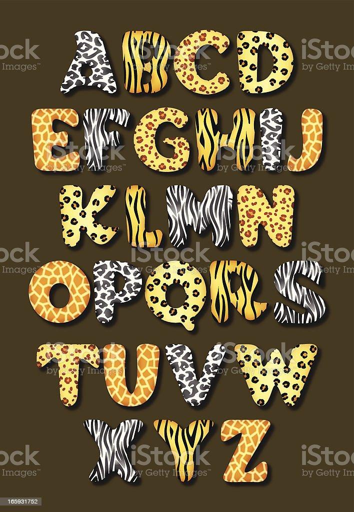 Animal skin alphabet vector art illustration