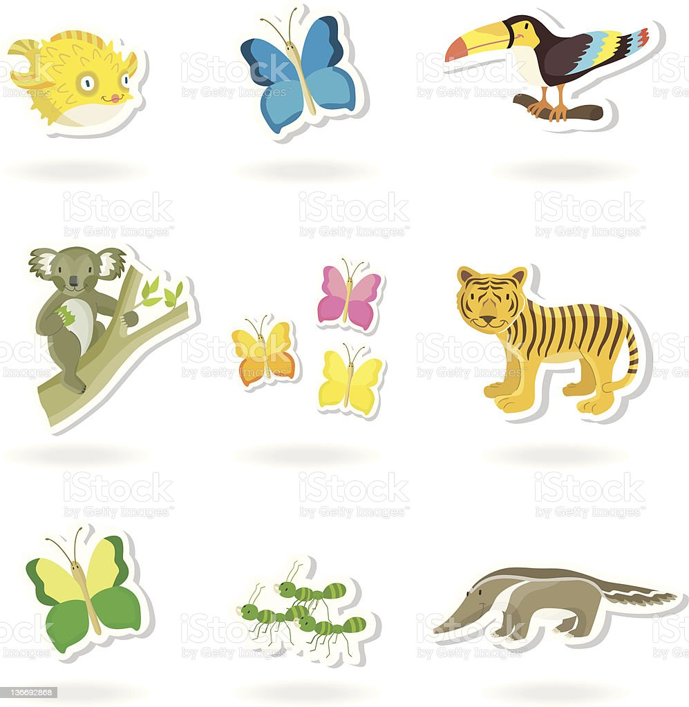 animal sticker (2) (jungle/tropical) royalty-free stock vector art