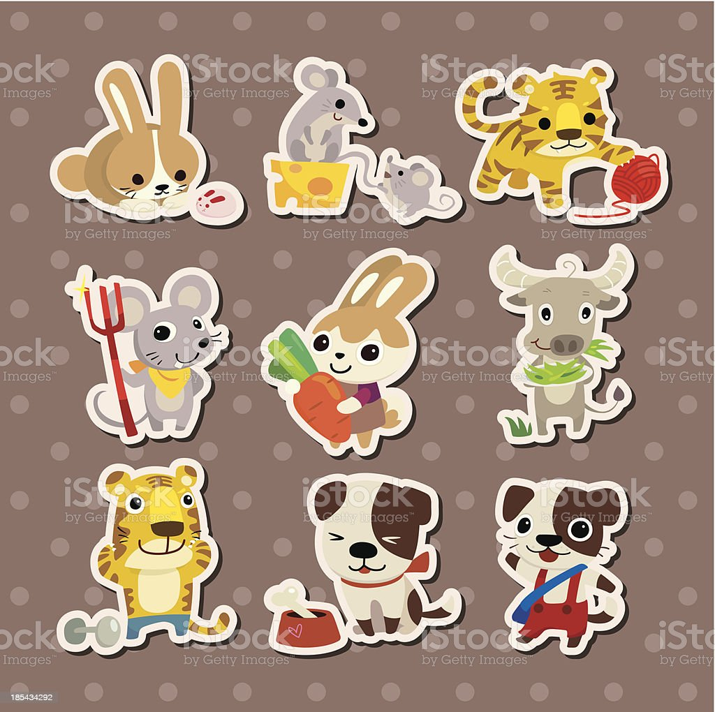 animal stickers royalty-free stock vector art