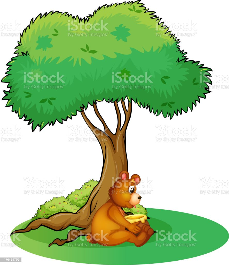 Animal taking rest under a tree royalty-free stock vector art