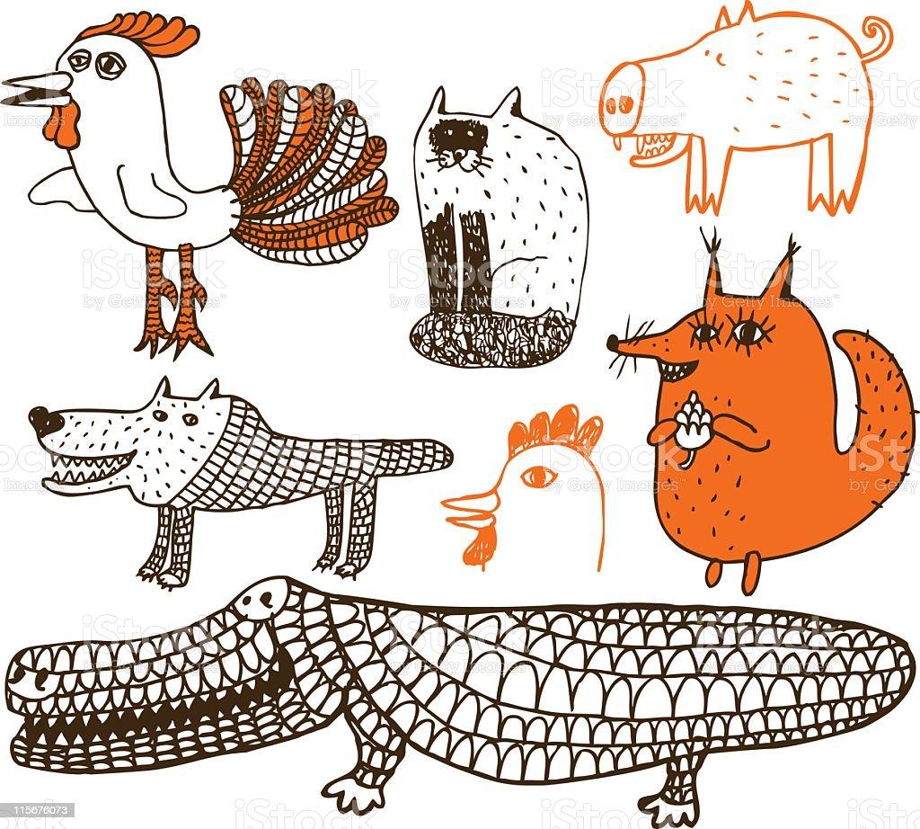 Animal theme doodles vector art illustration