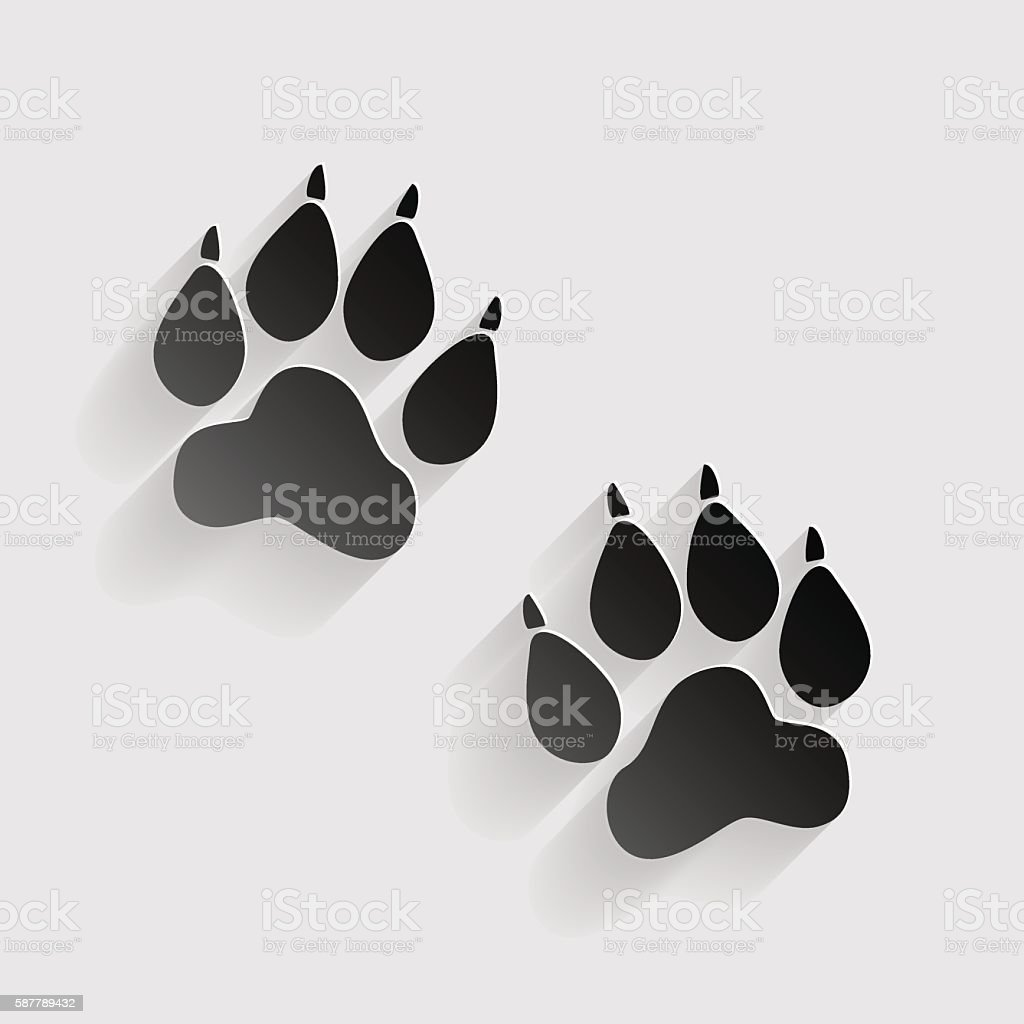 Animal Tracks sign. Black paper with shadow on gray background. vector art illustration