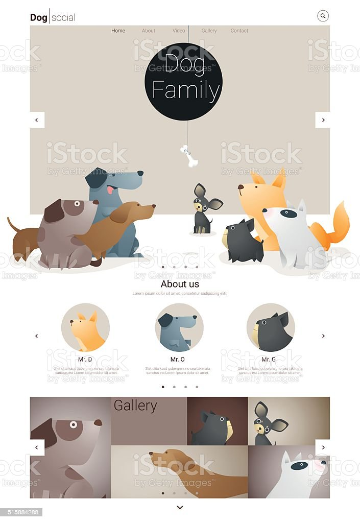 Animal website template  banner and infographic with Dog 1 vector art illustration